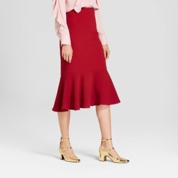 603e19afd1 Who What Wear Skirts | Fluted Midi Skirt Red Rhubarb Flare | Poshmark